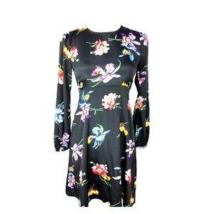ASOS Black Floral Print Fit & Flare Dress Size 4
